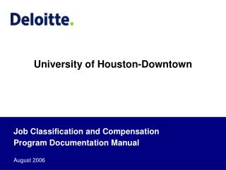 Job Classification and Compensation Program Documentation Manual  August 2006