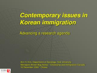 Contemporary issues in Korean immigration