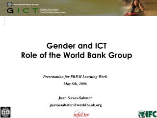 Gender and ICT  Role of the World Bank Group