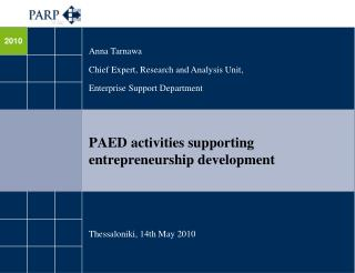 PAED activities supporting  entrepreneurship development