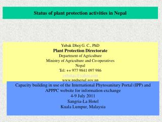 Status of plant protection activities in Nepal