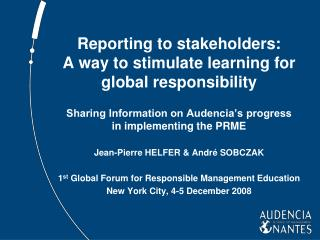 Reporting to stakeholders: A way to stimulate learning for global responsibility