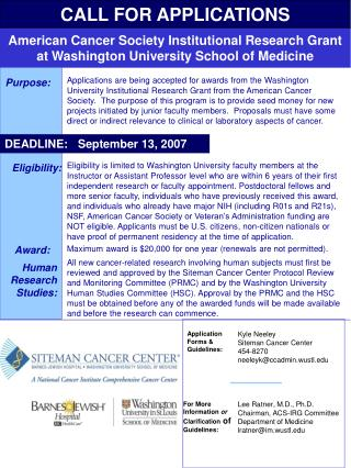 American Cancer Society Institutional Research Grant at Washington University School of Medicine