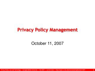 Privacy Policy Management