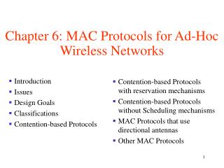 Chapter 6: MAC Protocols for Ad-Hoc Wireless Networks