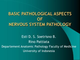 BASIC PATHOLOGICAL ASPECTS  OF  NERVOUS SYSTEM PATHOLOGY