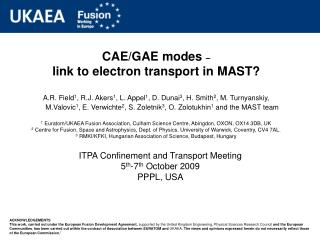 CAE/GAE modes  – link to electron transport in MAST?