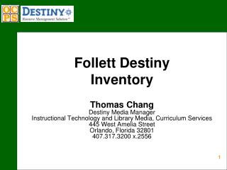 Follett Destiny  Inventory