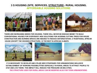 3 S HOUSING (SITE, SERVICES,  STRUCTURE ). RURAL HOUSING. AFFORDABLE HOUSING SOLUTIONS