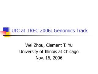 UIC at TREC 2006: Genomics Track