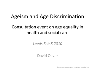 Consultation event on age equality in health and social care