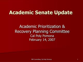 Academic Senate Update