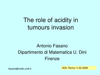 The  role  of acidity in  tumours invasion