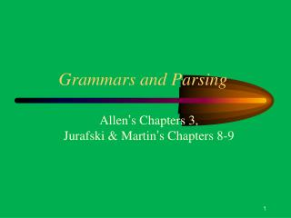 Grammars and Parsing