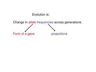 Evolution is: Change in  allele  frequencies  across generations.