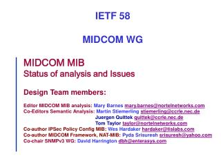 MIDCOM MIB Status of analysis and Issues Design Team members: