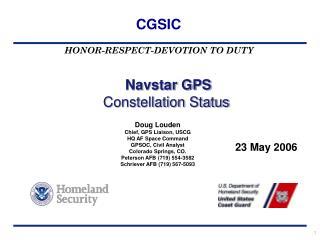 Navstar GPS Constellation Status