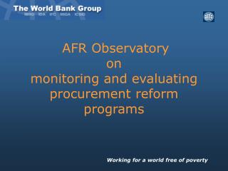 AFR Observatory  on  monitoring and evaluating procurement reform programs