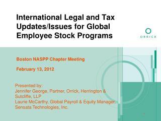 International Legal and Tax Updates/Issues for Global  Employee Stock Programs