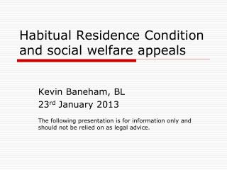 Habitual Residence Condition and social welfare appeals
