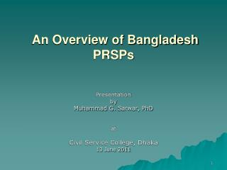 An Overview of Bangladesh  PRSPs
