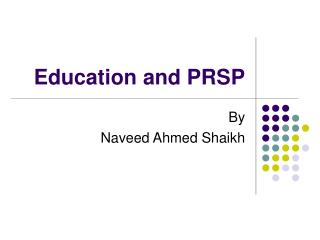 Education and PRSP