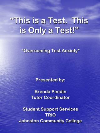 """This is a Test.  This is Only a Test!"""