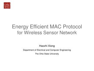 Energy Efficient MAC Protocol for Wireless Sensor Network