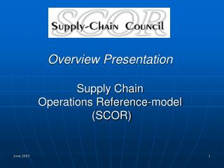 Overview Presentation Supply Chain  Operations Reference-model  (SCOR)
