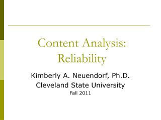 Content Analysis: Reliability