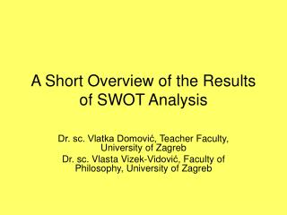 A Short Overview of the Results of SWOT Analysis