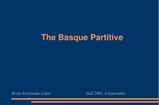 The  Basque  Partitive