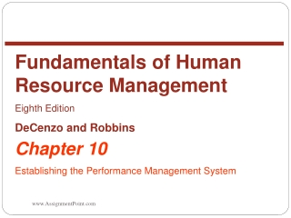 Chapter 10 Establishing the Performance Management System