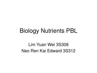 Biology Nutrients PBL