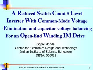 A R educed  S witch  C ount 5- L evel  I nverter  W ith  C ommon-Mode  V oltage  E limination and capacitor voltage bala