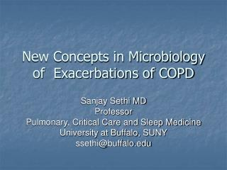 New Concepts in Microbiology of  Exacerbations of COPD