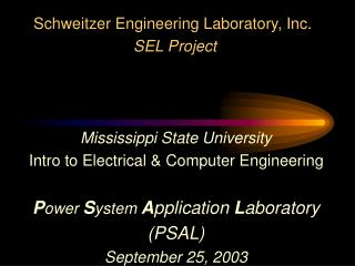 Mississippi State University Intro to Electrical & Computer Engineering