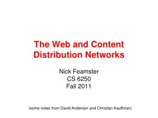The Web and Content Distribution Networks