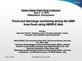 Eastern Region Flash Flood Conference June 2 - 4, 2010 Wilkes-Barre, Pennsylvania