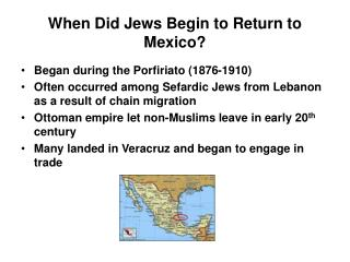 When Did Jews Begin to Return to Mexico?