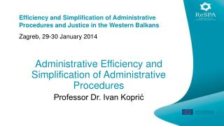 Administrative Efficiency and Simplification of Administrative Procedures