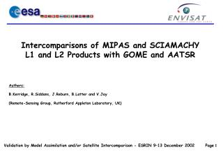 Intercomparisons of MIPAS and SCIAMACHY       L1 and L2 Products with GOME and AATSR
