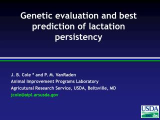 Genetic evaluation and best prediction of lactation persistency