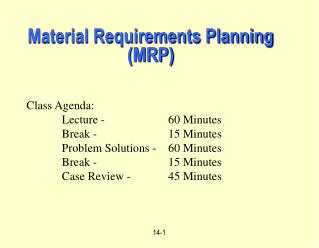 Material Requirements Planning (MRP)