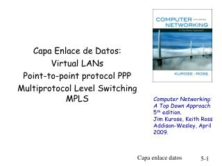 Capa Enlace de Datos: Virtual LANs  Point-to-point protocol PPP Multiprotocol Level Switching MPLS