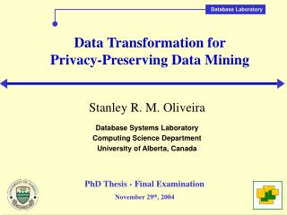 Data Transformation for  Privacy-Preserving Data Mining