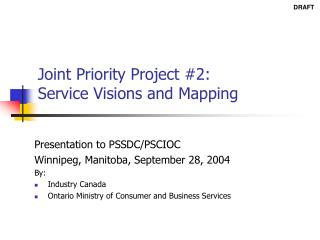 Joint Priority Project #2: Service Visions and Mapping