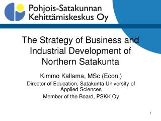 The Strategy of Business and Industrial Development of Northern Satakunta