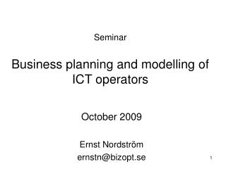 Seminar Business planning and modelling of  ICT operators