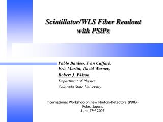Scintillator/WLS Fiber Readout  with PSiPs